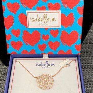 NWT SS 925 Rose Gold Plated Sparkling Rose Pendant